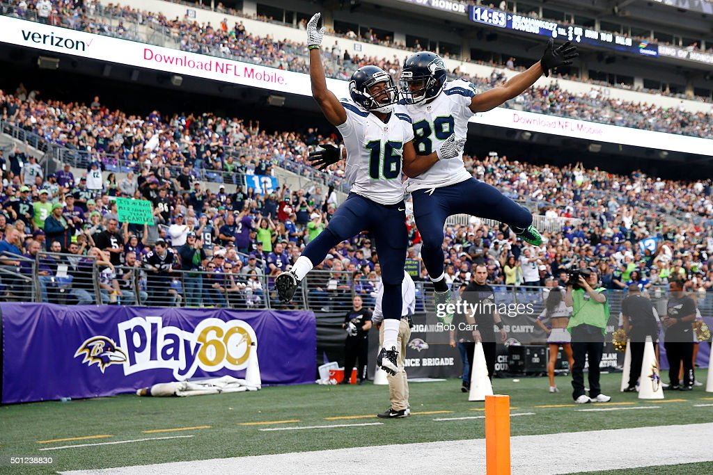 Wide receiver <a gi-track='captionPersonalityLinkClicked' href=/galleries/search?phrase=Tyler+Lockett&family=editorial&specificpeople=8364808 ng-click='$event.stopPropagation()'>Tyler Lockett</a> #16 of the Seattle Seahawks celebrates with teammate wide receiver <a gi-track='captionPersonalityLinkClicked' href=/galleries/search?phrase=Doug+Baldwin+-+American+Football+Player&family=editorial&specificpeople=4542613 ng-click='$event.stopPropagation()'>Doug Baldwin</a> #89 after scoring a fourth quarter touchdown against the Baltimore Ravens at M&T Bank Stadium on December 13, 2015 in Baltimore, Maryland.