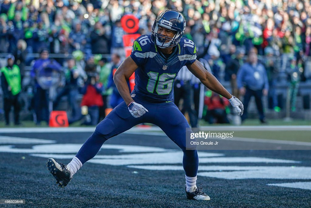 Wide receiver <a gi-track='captionPersonalityLinkClicked' href=/galleries/search?phrase=Tyler+Lockett&family=editorial&specificpeople=8364808 ng-click='$event.stopPropagation()'>Tyler Lockett</a> #16 of the Seattle Seahawks reacts after scoring a touchdown against the San Francisco 49ers at CenturyLink Field on November 22, 2015 in Seattle, Washington.