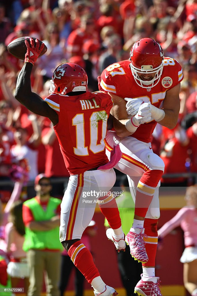 ... nike nfl youth game jersey be665 f178f new style jersey number wide  receiver tyreek hill 10 of the kansas city chiefs celebrates after ... 8035fe62f