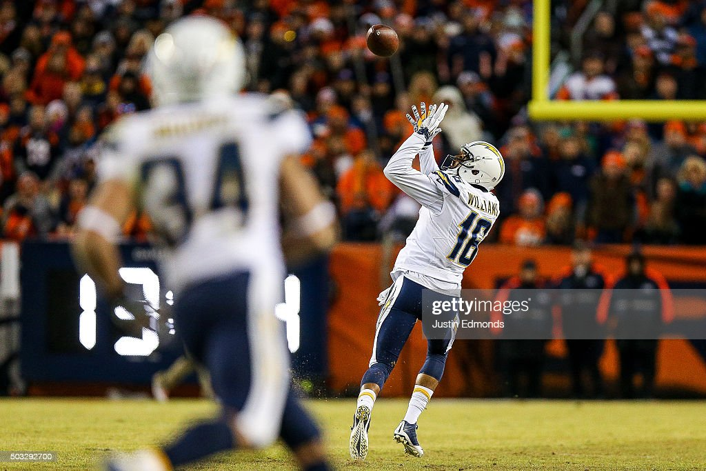 Wide receiver Tyrell Williams #16 of the San Diego Chargers catches a pass for an 80-yard touchdown against the Denver Broncos in the fourth quarter of a game at Sports Authority Field at Mile High on January 3, 2016 in Denver, Colorado. The catch was the first of Williams' NFL career.