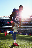 Wide receiver Victor Cruz of the New York Giants walks off the field after defeating the Atlanta Falcons in their game at MetLife Stadium on October...