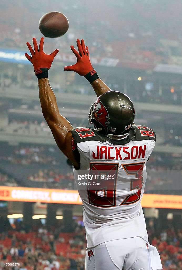 Wide receiver Vincent Jackson of the Tampa Bay Buccaneers catches a touchdown against the Atlanta Falcons during a game at the Georgia Dome on...