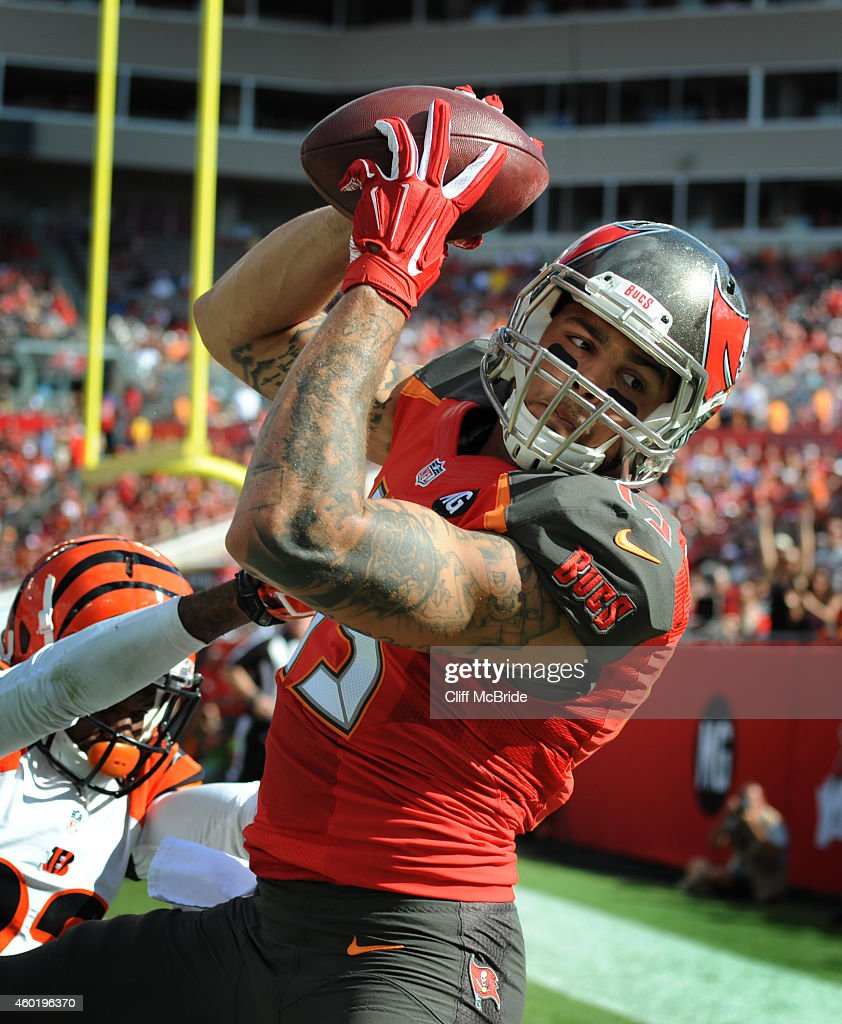 Wide receiver Vincent Jackson of the Tampa Bay Buccaneers catches a pass against the Cincinnati Bengals at Raymond James Stadium on November 30 2014...