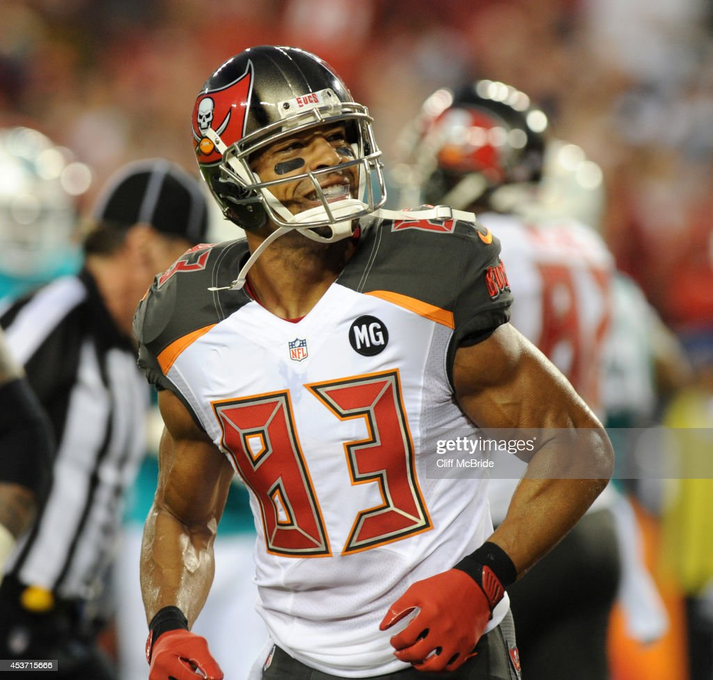 Wide receiver Vincent Jackson of the Tampa Bay Buccaneers looks to the crowd after his TD catch against the Miami Dolphins in the first half at...