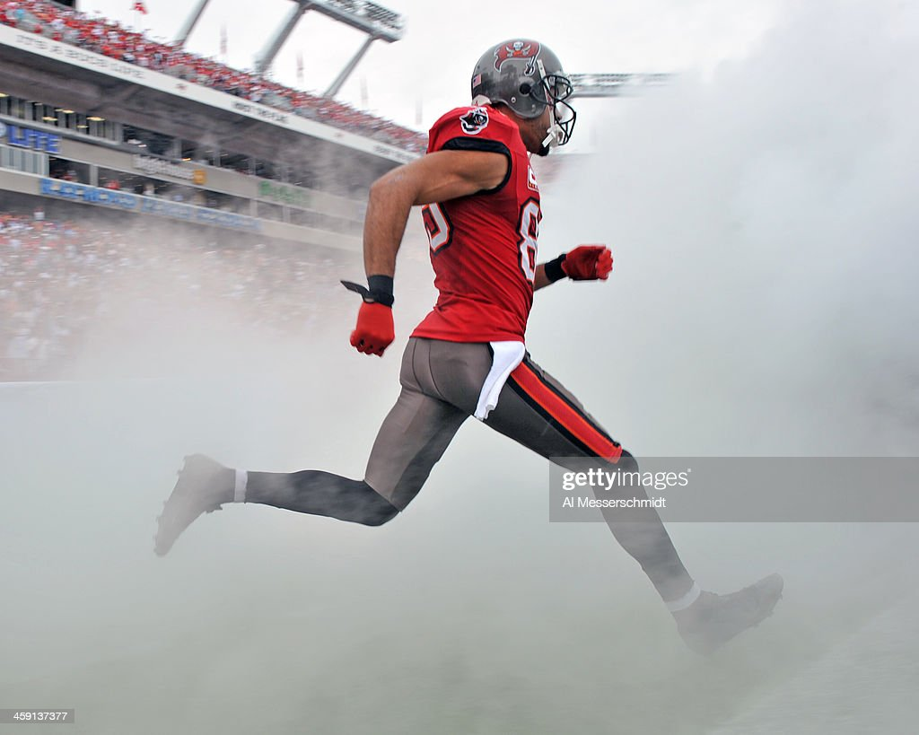 Wide receiver Vincent Jackson of the Tampa Bay Buccaneers takes the field for play against the San Francisco 49ers December 15 2013 at Raymond James...