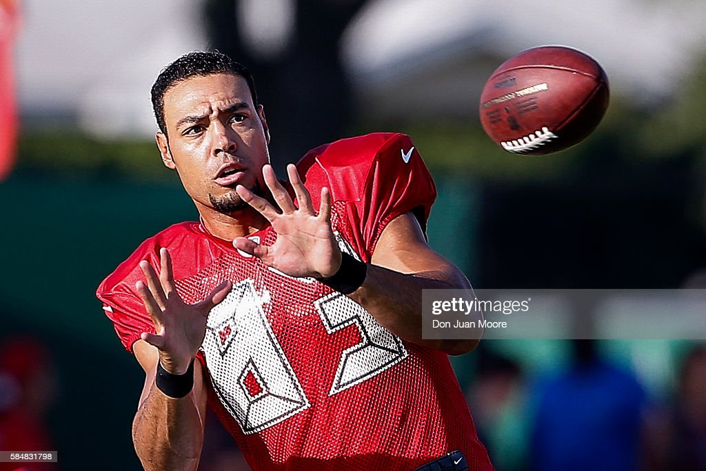 Wide Receiver Vincent Jackson of the Tampa Bay Buccaneers works out during Training Camp at One Buc Place on July 31 2016 in Tampa Florida