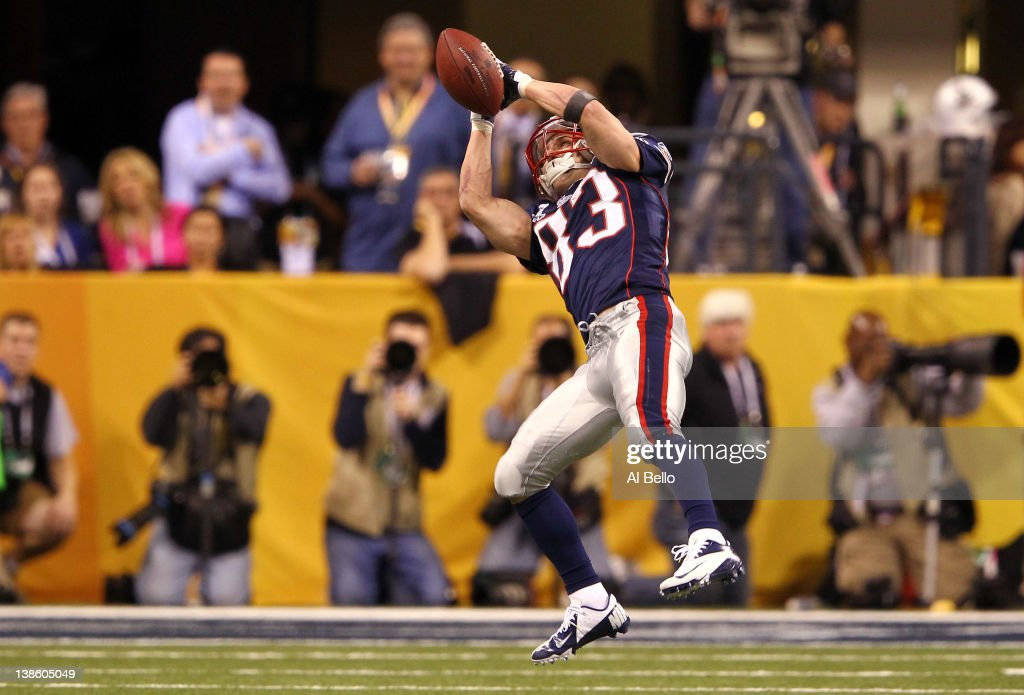 Wide receiver <a gi-track='captionPersonalityLinkClicked' href=/galleries/search?phrase=Wes+Welker&family=editorial&specificpeople=236127 ng-click='$event.stopPropagation()'>Wes Welker</a> #83 of the New England Patriots drops a pass late in the fourth quarter against the New York Giants during Super Bowl XLVI at Lucas Oil Stadium on February 5, 2012 in Indianapolis, Indiana.