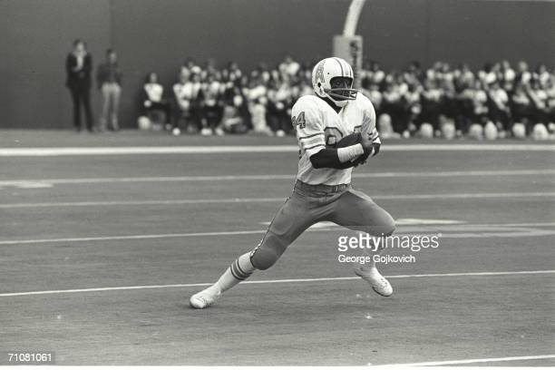 Wide receiver/kick returner Billy Johnson of the Houston Oilers in action against the Pittsburgh Steelers at Three Rivers Stadium circa 1975 in...