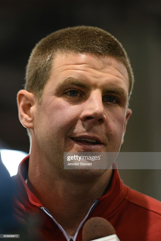 Wide receivers coach Billy Napier of the Alabama Crimson Tide talks with the media during Media Day for the College Football Playoff National...