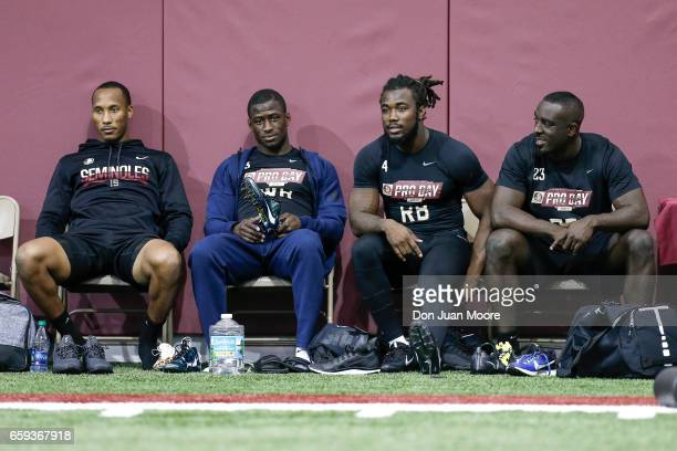 Wide Receivers Travis Rudolph Jesus 'Bobo' Wilson Runningbacks Dalvin Cook and Freddie Stevenson before their work out with NFL Scouts and Coaches...