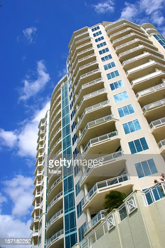 Wide residential building with great apartment with balcony
