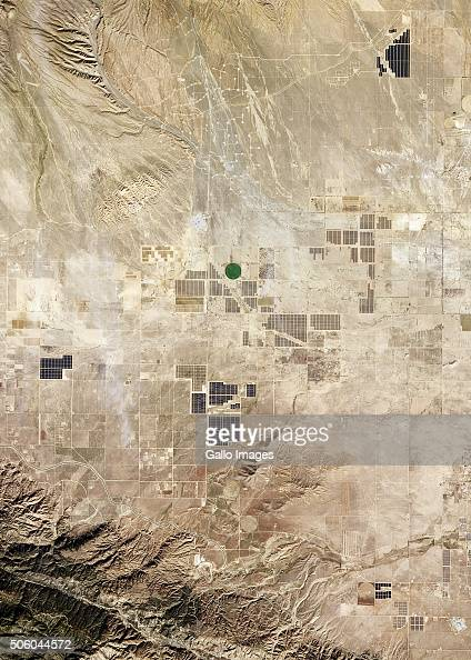 A wide satellite view of California City of sustainable and renewable energy projects in Northern Antelope Valley on December 13 2015 in California...