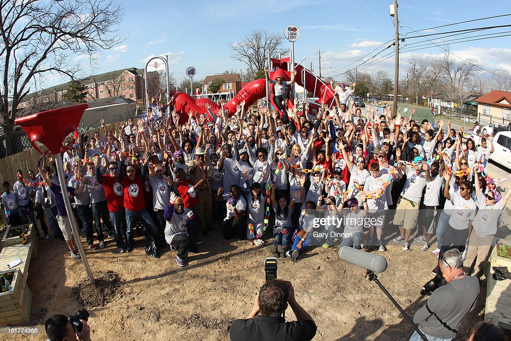 A wide shot of everyone that participated at the 2013 NBA Cares Day of Service at the Playground Build with KaBOOM! on February 15, 2013 in Houston, Texas.