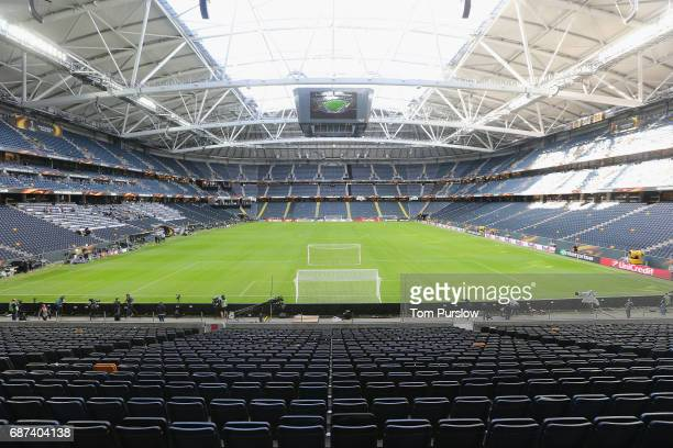A wide shot of Friends Arena ahead of the UEFA Europa League Final at Friends Arena on May 23 2017 in Stockholm Sweden