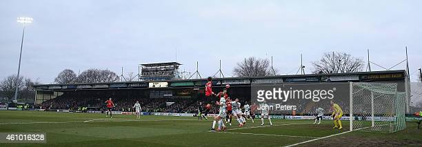 A wide shot of Huish Park during the FA Cup Third Round match between Yeovil Town and Manchester United at Huish Park on January 4 2015 in Yeovil...
