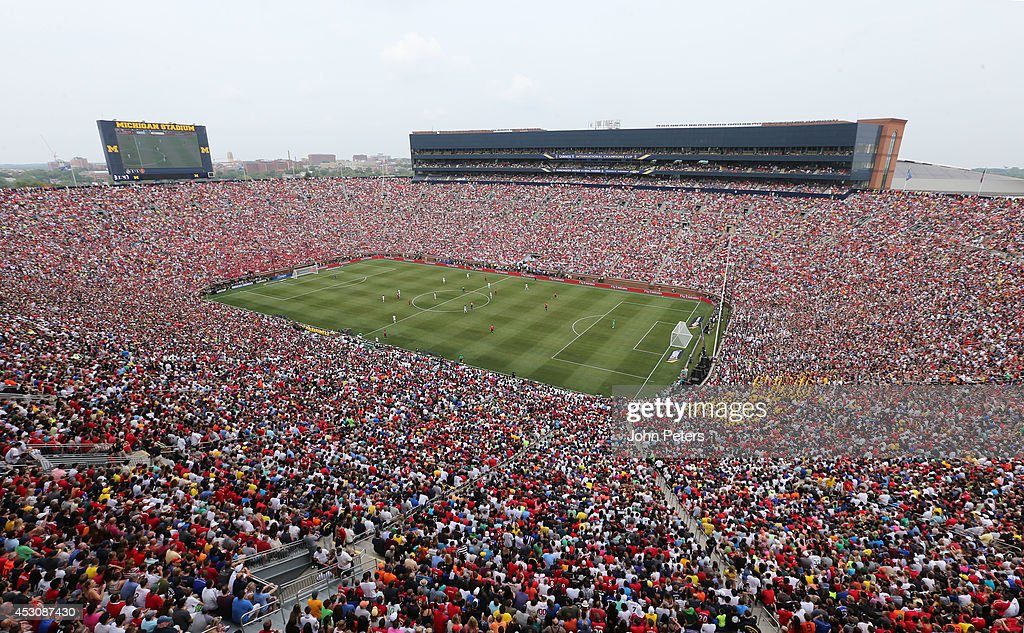 A wide shot of Michigan Stadium during the preseason friendly match between Manchester United and Real Madrid at Michigan Stadium on August 2 2014 in...