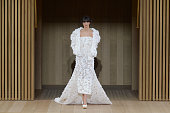 A wide shot of model walking the runway during the Chanel Haute Couture Spring Summer 2016 show as part of Paris Fashion Week on January 26 2016 in...