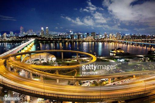 Wide shot of Seoul, South Korea at night