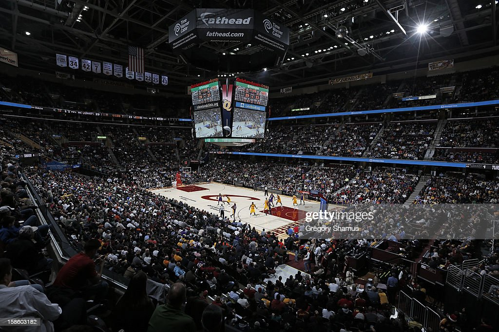 A wide shot of the arena during the game that featured the Cleveland Cavaliers against the Los Angeles Lakers at The Quicken Loans Arena on December 11, 2012 in Cleveland, Ohio.