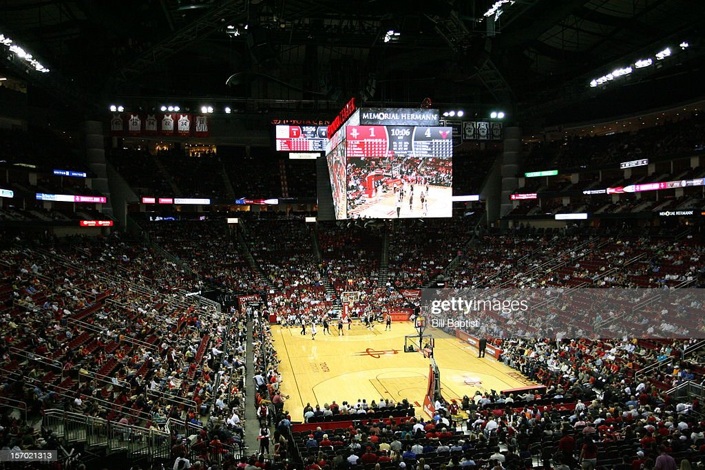 A wide shot of the court during the game where the Houston Rockets played the Chicago Bulls on November 21, 2012 at the Toyota Center in Houston, Texas.