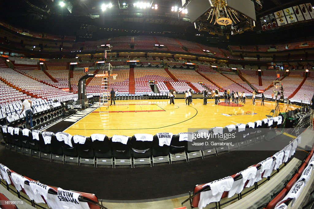 A wide shot of the Miami Heat dance team practicing before the game against the Milwaukee Bucks in Game One of the Eastern Conference Quarterfinals during the 2013 NBA Playoffs on April 21, 2013 at AmericanAirlines Arena in Miami, Florida.