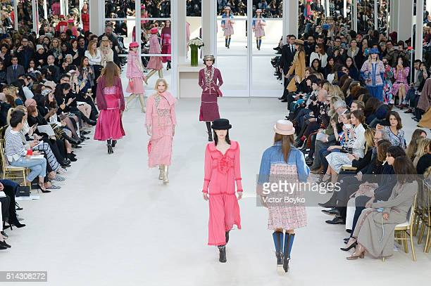 A wide shot of the models walking the runway during the Chanel show as part of the Paris Fashion Week Womenswear Fall/Winter 2016/2017 on March 8...