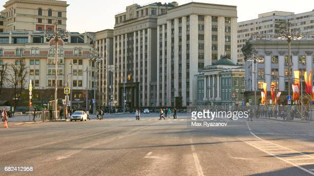 A wide street in the center of Moscow without cars