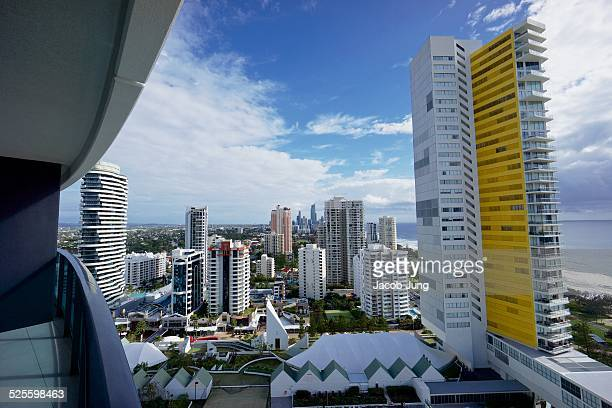 Wide view cityscape of Gold Coast Australia taken from the Broadbeach district and facing the Surfers Paradise district including the Q1 skyscraper