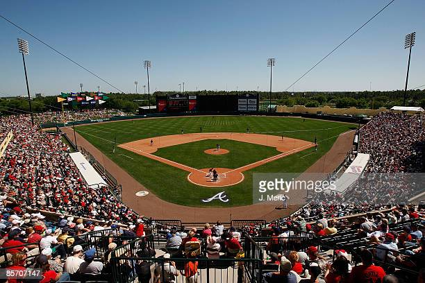 A wide view of Champion Stadium during a Grapefruit League Spring Training Game at Disney Wide World of Sports between the Boston Red Sox and the...