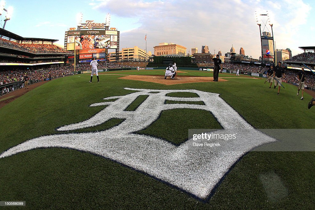 A Wide View Of Comerica Park From Behind Home Plate During MLB Game Between The