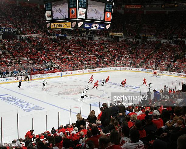 A wide view of Joe Louis arena and some of the game action during game one of the Western Conference Finals of the 2008 NHL Stanley Cup Playoffs...