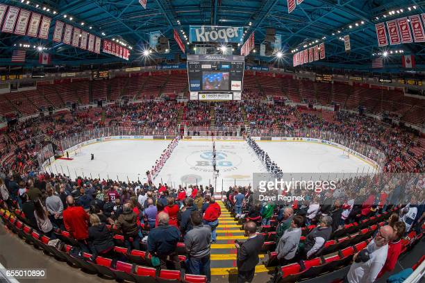 A wide view of Joe Louis Arena before the start the Big Ten Men's Ice Hockey Tournament Championship game between the Penn State Nittany Lions and...