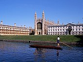 Kings College with a punt on the River cam in the foreground, Cambridge, Cambridgeshire, England, United Kingdom, Western Europe.