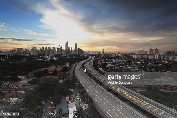 Wide view of Kuala Lumpur at sunset