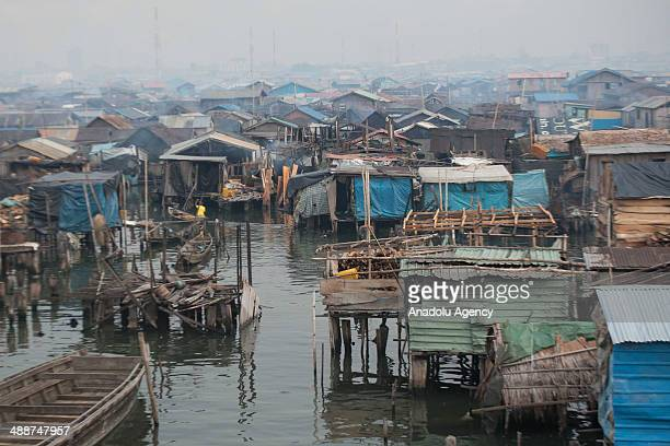 A wide view of Makoko city at daytime on April 30 2014 in Lagos Negeria Makoko is slum neighborhood located in Nigeria its population considered to...