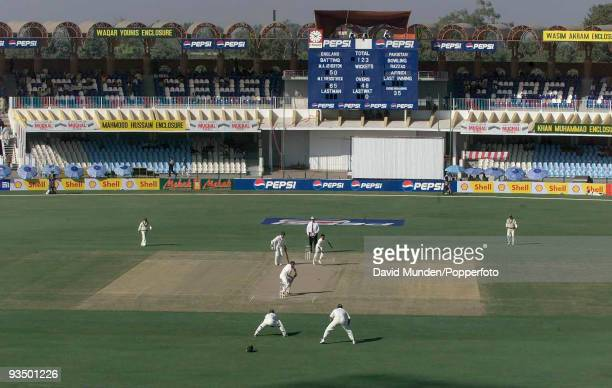 A wide view of play during England's opening partnership of 134 runs by Marcus Trescothick and Michael Atherton on the first day of the 1st Test...