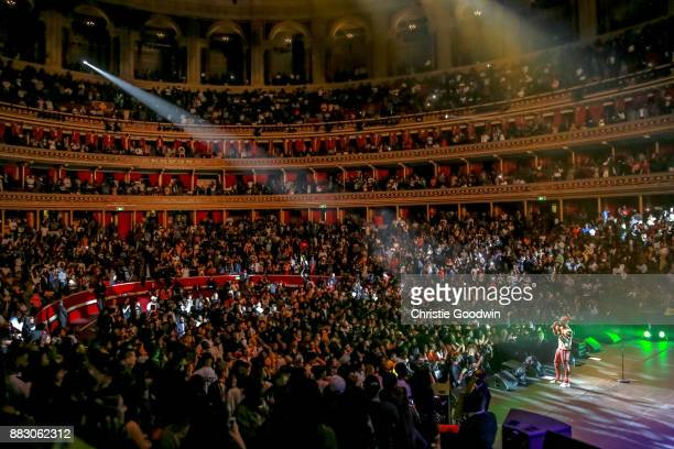 Wide view of the auditorium and the fans in the crowd as Wizkid performs on stage at The Royal Albert Hall on September 29 2017 in London England