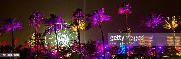 A wide view of the festival grounds is seen during 2016 Coachella Valley Music And Arts Festival at the Empire Polo Field on April 24 2016 in Indio...