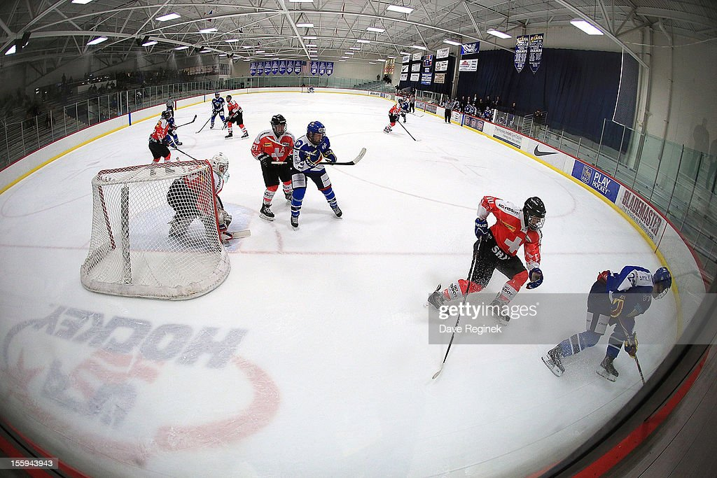 A wide view of the Ice Cube arena during the U-18 Four Nations Cup tournament game between Finland and Switzerland on November 9, 2012 in Ann Arbor, Michigan