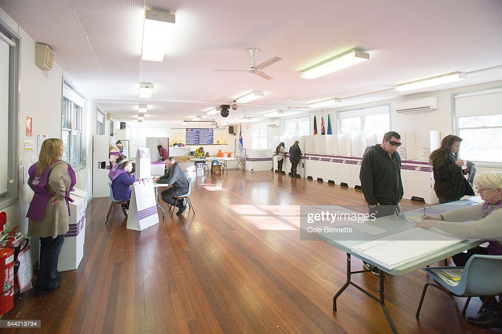 A wide view of the Kingswood Park Public School hall where voting takes place in the electorate of Lindsay on July 2, 2016 in Penrith, Australia. Voters head to the polls today to elect the 45th parliament of Australia.