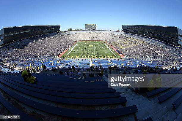 A wide view of the Michigan Stadium 'Big House' before the Big Ten college game between the University of Michigan Wolverines and the University of...