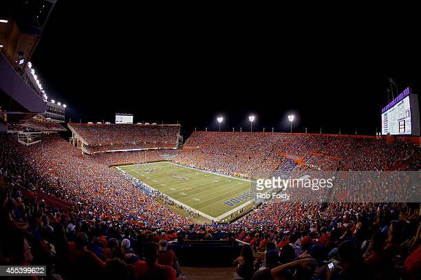 A wide view of the stadium during the first half of the game between the Florida Gators and the Kentucky Wildcats at Ben Hill Griffin Stadium on...