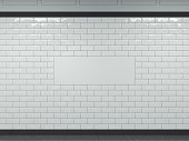 Wide white banner on tiled wall in subway. 3d rendering