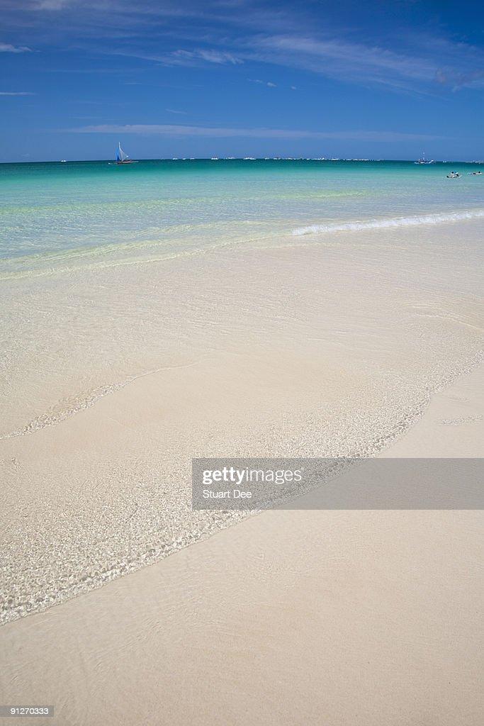 Wide white sand beach, White Beach, Boracay : Stock Photo