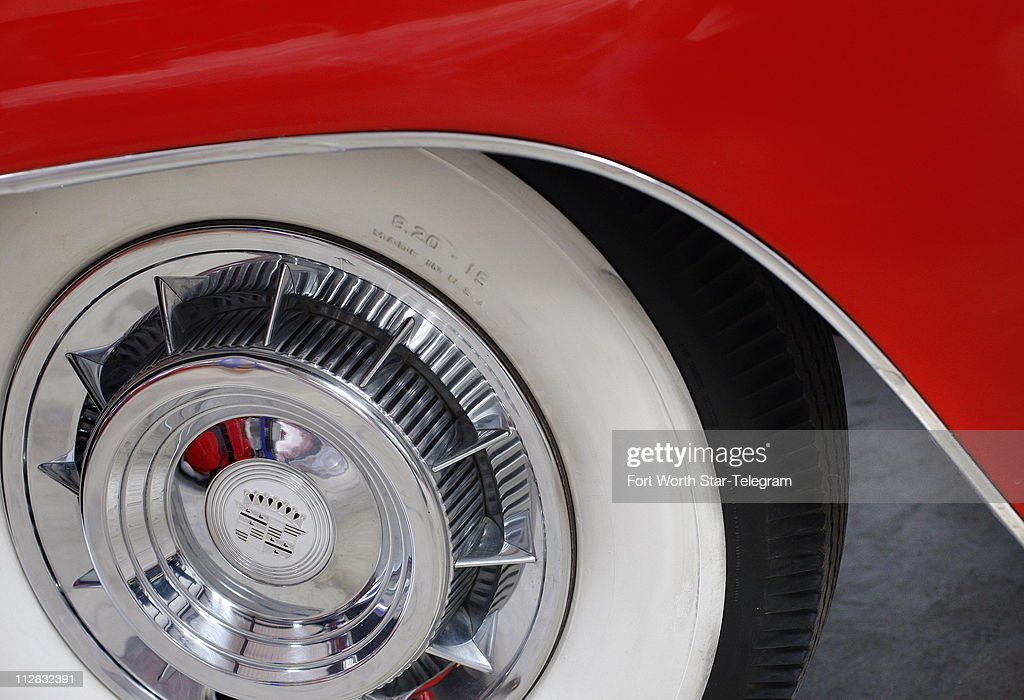 wide white wall tires and the sweeping red fender of a rare less that 100 made u002759 cadillac eldorado biarritz which will soon be shipped to a buyer in