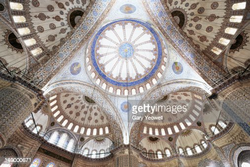 Wideangle view of Blue Mosque ceiling