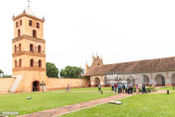 Bolivia San Jose de Chiquitos November 25 2016 A wideangle view of the courtyard with the chapel and the bell tower of the Jesuit reduction in San...