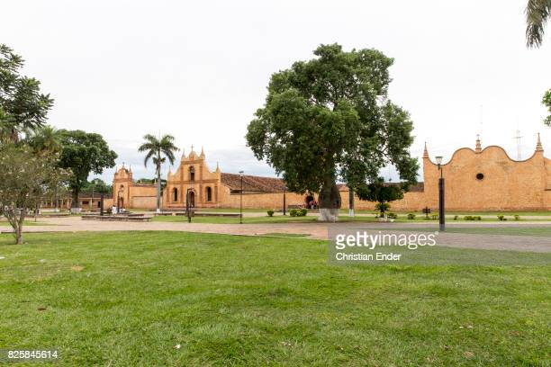 Bolivia San Jose de Chiquitos November 25 2016 A wideangle view of the forecourt and the front of the Jesuit reduction in San Jose
