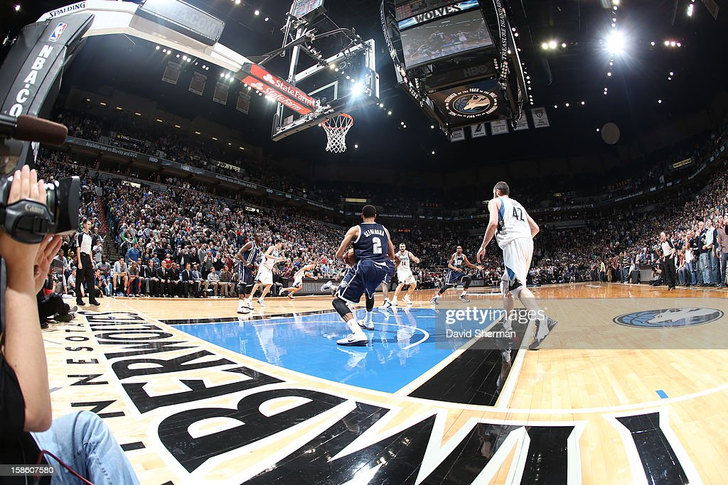 A wideangle view of the Minnesota Timberwolves home court against the Oklahoma City Thunder during the game on December 20, 2012 at Target Center in Minneapolis, Minnesota.