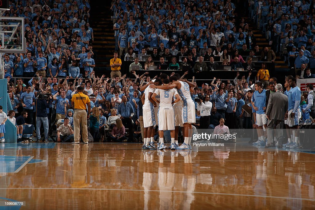 A wide-angle view of the North Carolina Tar Heels team before a game against the Maryland Terrapins on January 19, 2013 at the Dean E. Smith Center in Chapel Hill, North Carolina. North Carolina won 52-62.